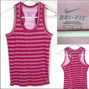 Nike pink striped, racer back, tank top.